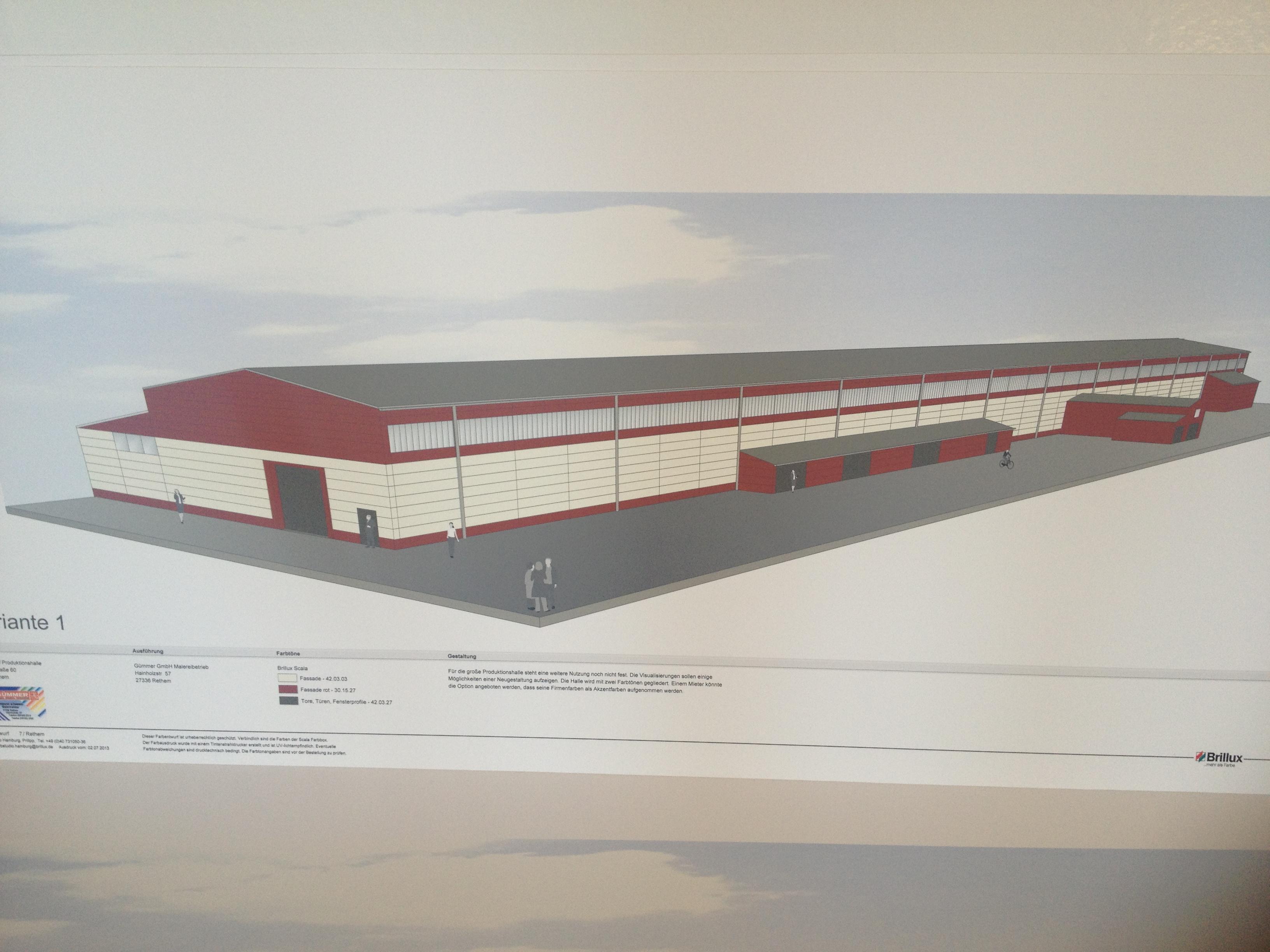 Der erste Entwurf zur großen Gewerbehalle ...